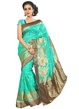 Turquoise Benarasi Silk