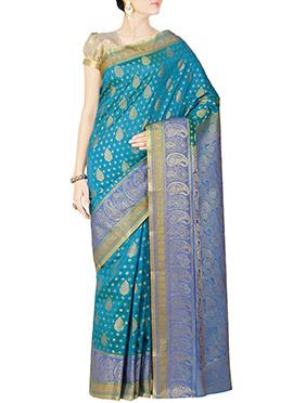 Turquoise Blue Art Kanjivaram Silk Saree