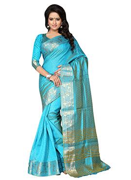 Turquoise Blue Benarasi Silk Saree