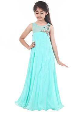 Turquoise Blue Chiquitita  Kids Gown