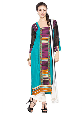 Turquoise Blue Cotton Printed Straight Suit