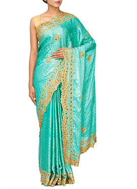 Turquoise Blue Embellished Crepe Saree