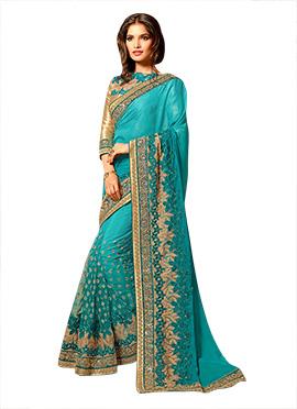 Turquoise Blue Embroidered Half N Half Saree