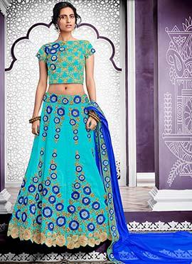 Turquoise Blue Embroidered Lehenga Choli