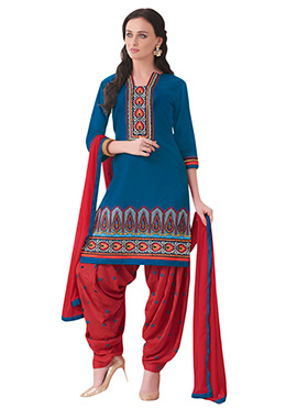 Teal Blue Embroidered Patiala Suit