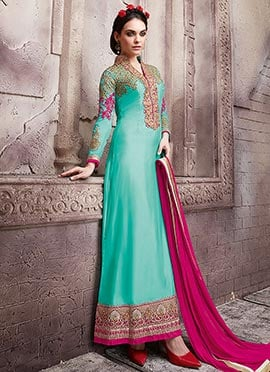 Turquoise Blue Georgette Embroidered Straight Suit