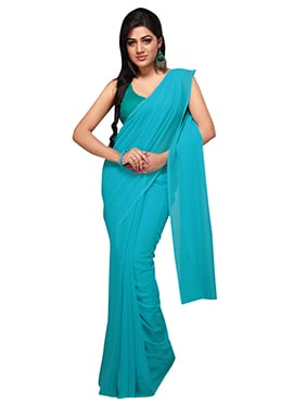 Turquoise Blue Georgette Saree