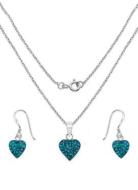 Turquoise Blue Crystal Stone Pendant Set