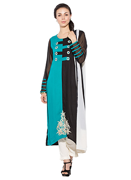 Turquoise Blue N Black Viscose Straight Pant Suit