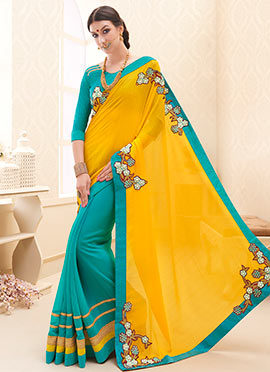 Turquoise Blue N Yellow Half N Half Saree
