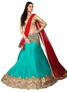 Turquoise Blue Net A Line Lehenga Choli