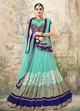 Turquoise Blue Net Lehenga Choli