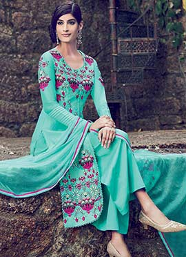 Turquoise Blue Palazzo Suit