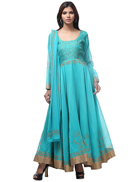 Turquoise Blue Printed Anarkali Suit