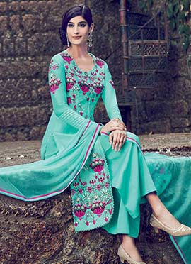 Turquoise Blue Pure Cotton Satin Palazzo Suit