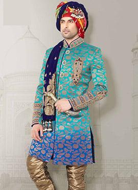 Turquoise Brocade Indo Western Sherwani