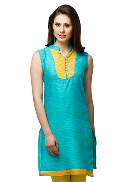 Turquoise Cotton Ethnic Kurti from Home India