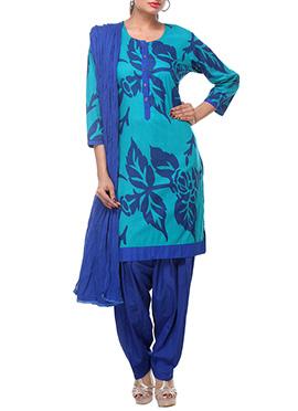 Turquoise Cotton Semipatiala Suit