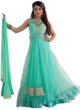 Turquoise Embroidered Anarkali Suit