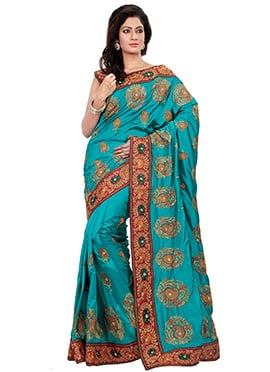 Turquoise Embroidered Foliage Patterned Saree