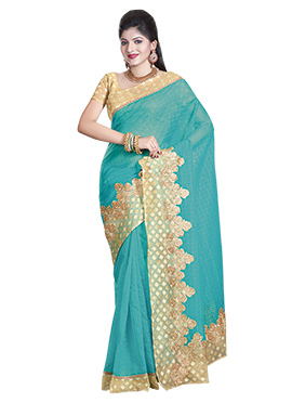 Turquoise Embroidered Net Saree