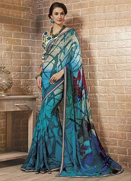 Turquoise Georgette Printed Saree
