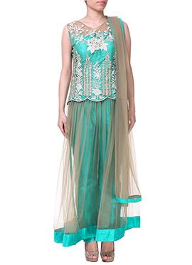 Turquoise Green Anarkali Suit