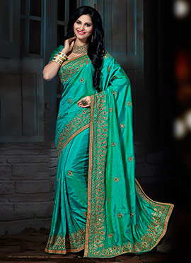 Turquoise Green Art Silk Embroidered Saree