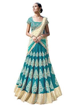 Turquoise Green Bhagalpuri Silk A Line Lehenga Cho