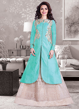 Turquoise Green Chanderi Long Choli Lehenga