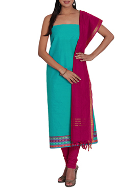 Turquoise Green Cotton Solid Patterned Churidar Suit