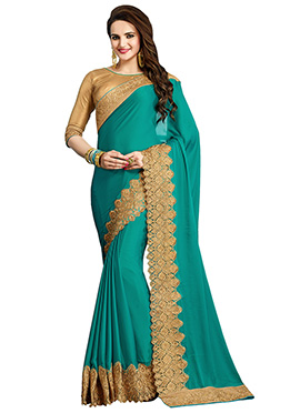 Turquoise Green Crepe Saree