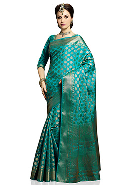Turquoise Green Floral Patterned Saree
