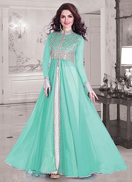 Turquoise Green Georgette Long Choli Lehenga