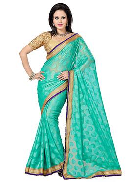 Turquoise Green Jacquard Saree