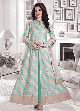 Turquoise Green N Beige Anarkali Suit