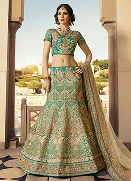 Turquoise Green N Beige Embroidered Lehenga Choli
