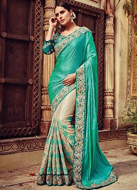 Turquoise Green N Cream Half N Half Saree