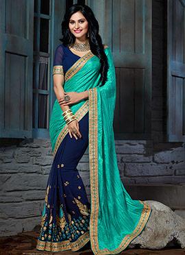 Turquoise Green n Navy Blue Half N Half Saree