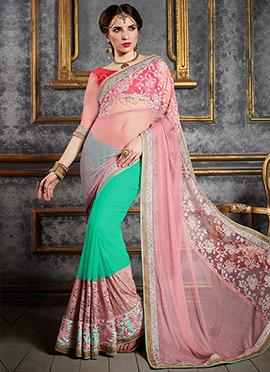 Turquoise Green N Pink Half N Half Saree