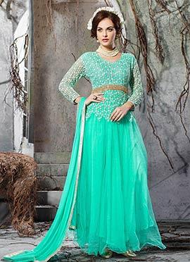 Turquoise Green Net Floral Anarkali Suit