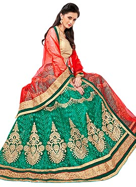 Turquoise Green Net Lehenga Choli