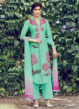 Turquoise Green Palazzo Suit