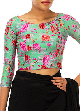 Turquoise Green Printed Blouse