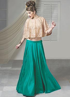 Turquoise Green Raw Cape Silk Skirt Set
