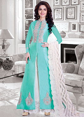 Turquoise Green Silk Cotton Anarkali Suit
