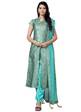 Turquoise Green Silk Cotton Straight Suit