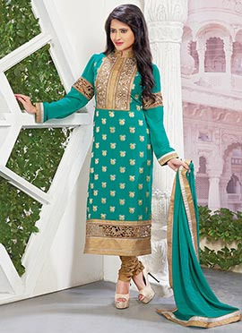 Turquoise Green Viscose Straight Suit