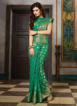 Turquoise Green Zari Art Silk Saree