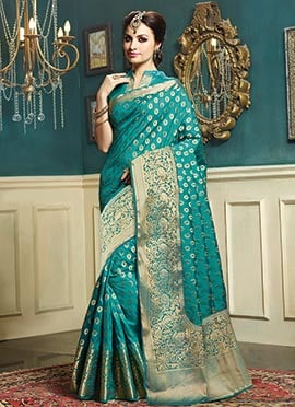Turquoise Green Zari Weaving Saree